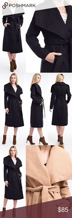🆕ADIELLE chic trench coat - BLACK Super soft & chic overcoat with self - tie belt.  Material content: Fabric 80% Polyester & 20% Rayon  🚨NO TRADE🚨  🚨🚨PRICE FIRM🚨🚨 Bellanblue Jackets & Coats Trench Coats