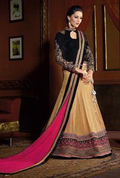 Beige and black designer party wear lehengha - Desi Royale