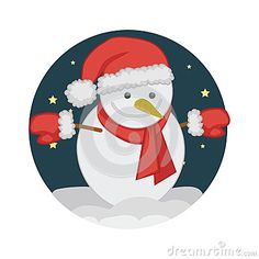 Snowman wear santa clauss accessories in christmas eve