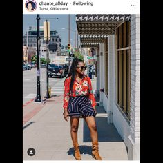 """Jennifer M on Instagram: """"The next #cistaootdinspo is this gorgeous look from @chante_allday I love the way the skirt has a bit of a menswear vibe and how that…"""" The Next, Blossoms, Mini Skirts, Menswear, Stripes, My Love, Best Deals, Closet, Outfits"""