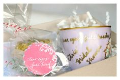 {DIY tea goody box...invitation idea}  teacup+shortbread cookie crown+custom teabag