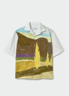 La Promenade Shirt by Loolios, $230 Clothes Encounters, Landscape Prints, Collar Shirts, Female Models, Organic Cotton, Size Chart, Art Prints, How To Wear, Collection