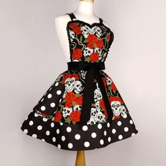 Tattoo Art Rockabilly Skulls and Roses Polka Dots Apron sold by Vintage Galeria. Shop more products from Vintage Galeria on Storenvy, the home of independent small businesses all over the world. Retro Apron, Aprons Vintage, Retro Vintage, Plus Size Rockabilly, Halloween Apron, Cute Aprons, Polka Dot Fabric, Polka Dots, Skulls And Roses