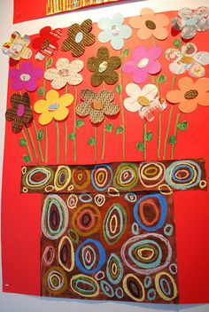 Art - lesson plans ideas for Group Art Projects, Collaborative Art Projects, School Art Projects, Spring Art, Spring Crafts, Flower Crafts, Flower Art, 2nd Grade Art, Art Lessons Elementary