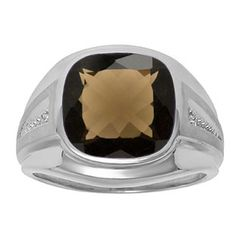 Diamond and Brown Smoky Quartz Men's Large Ring In White Gold Father's Day 2015 Unique Jewelry Gift Presents and Ideas. Gemologica.com offers a large selection of rings, bracelets, necklaces, pendants and earrings crafted in 10K, 14K and 18K yellow, rose and white gold and sterling silver for that special dad. Our complete collection and sale of personalized and custom gifts for dad: www.gemologica.com/mens-jewelry-c-28.html