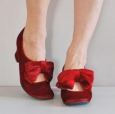 vintage red velvet shoes