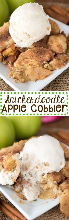 Snickerdoodle Apple Cobbler. A fun new way to eat apple cobbler! Cooked apples are topped with snickerdoodle cookie dough and baked for a delicious fall or anytime dessert.