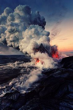 As lava enters the cool Pacific Ocean.