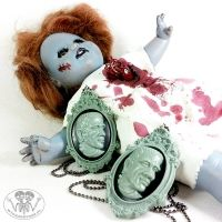Naszyjnik Frankenstein kamea horror szary