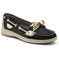 Sperry Angelfish Boat Shoe ($45) ❤ liked on Polyvore featuring shoes, loafers, sperry's, black, arch support shoes, deck shoes, black boat shoes, sperry top-sider shoes and top sider shoes