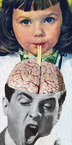 """No medium is more immediate and make a quicker impact than collage.  Notice how this sweet innocent girl sipping from a straw is instantly transformed into a jarring image when she is slurping gray matter for man's exposed cranium. Eugenia Loli, """"Reptilian Snack"""",  4""""x12"""" 2015"""