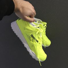 593ca531875 Neon green kicks can make any outfit pop. Dress up these Ventilator Reebok  Classics or