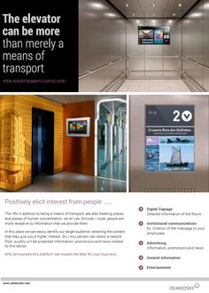 An ELEVATOR can be more than just a simple way to get you up and down !  Interactive and Digital Signage kiosks by PARTTEAM & OEMKIOSKS.  See more at www.oemkiosks.com