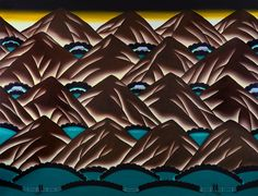 Roger Brown, Mountain Sites, Oil on canvas, 54 x 70 inches. Collection of Madison Museum of Contemporary Art. Purchase, through a contribution from the Wisconsin State Journal. © The School of the Art Institute of Chicago and the Brown family. Chicago Imagists, Work Chair, Art Rules, Transforming Furniture, Drawing Course, Chicago Artists, Principles Of Art, Brown Art, Urban Setting