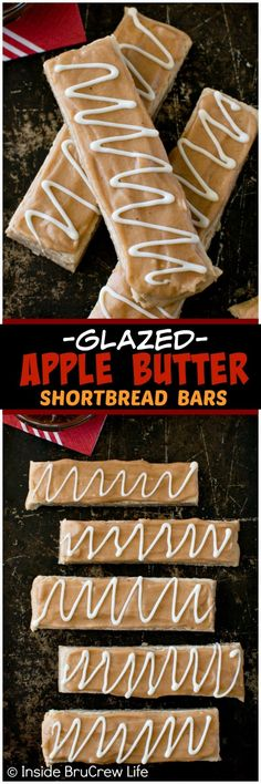 Glazed Apple Butter Shortbread Bars - apple butter in the cookie and glaze makes these sweet cookie sticks a great fall dessert recipe! Fall Dessert Recipes, Paleo Dessert, Fall Desserts, Dessert Bars, Fall Recipes, Cookie Recipes, Delicious Desserts, Snack Recipes, Dump Recipes