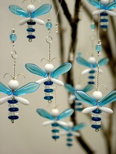 Blue Wedding Decor Hanging Glass Suncatcher by bytheartisan