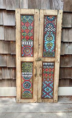 Door Design, House Design, Design Design, Wood Shutters, Repurposed Shutters, Funky Painted Furniture, Pottery Shop, Mosaic Wall Art, Creation Deco
