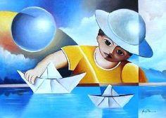 Barquinhos de papel Márcio Pita (Brasil, PE, contemporâneo) óleo sobre tela, 50 x 70 cm  -