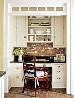 A Kitchen Office nook - love the brick backsplash with white cabinets and bin pull hardware. Kitchen Desks, New Kitchen, Kitchen Nook, Kitchen Brick, Kitchen Pantry, Kitchen Reno, Kitchen Remodeling, Kitchen Living, Built In Desk