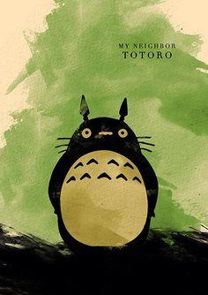 Mi vecino Totoro acuarela