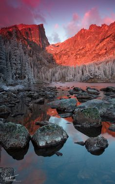 """Sweet Dreams -  This sunrise is up there on my list of """"most beautiful sunrises"""" that I've seen. Clouds streaming in over Hallet Peak in Rocky Mountain National Park while a heavy frost coats every tree in the park."""