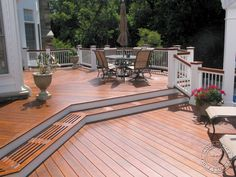 Thinking about adding a deck to your home? A deck is one of the best home improvements you can make in terms of adding home value. Learn more about deck construction. Tan House, House Deck, Ipe Decking, Decking Ideas, Composite Decking, Gazebo On Deck, Deck Colors, Deck Pictures, Deck Construction