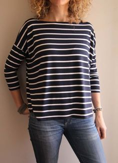 Love the way this slopes off the shoulder - looks great in stripes! Free Sewing Pattern - Mandy Boat Tee - Print At Home Or Copy Shop - Patterns - Tessuti Fabrics - Online Fabric Store - Cotton, Linen, Silk, . Sewing Patterns Free, Free Sewing, Clothing Patterns, Free Pattern, Blouse Pattern Free, Softie Pattern, Top Pattern, Fabric Patterns, Knitting Patterns