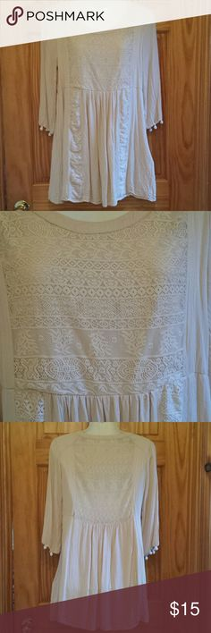 Bohemian country chic dress Beige, flowy Bohemian country chic dress. Lace and gathering details in front. Back is lace but somewhat see through. Umgee Dresses Mini