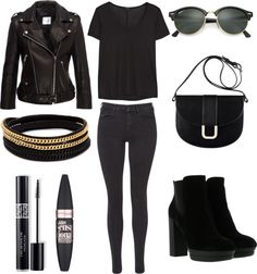 Fall Outfit Idea 2016 Polyvore.Great for Moms,Schools,Teens,Hipster,Women,This outfit can be worn casually or in parties. streetstyle chic fall outfit classy warm trendy party winter.Wedding,Bridesmaid,Black The Row rayon t shirt,Anine Bing cropped moto jacket leather,skinny jeans, bootie bootsm shoulder bag,Leather bangle,Ray-Ban green mirror lens sunglasses