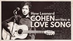 How Leonard Cohen Writes a Love Song Leonard Cohen, Free Education, All You Can, Love Songs, Music Artists, Writer, Beautiful Things, Reading, Words