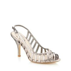 4870b5bfa641 Debut Silver metallic caged high sandals