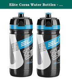 Elite Corsa Water Bottles - Black/blue, 550ml/ea (X2). A large mouth, easy fill drink bottle with measurement marks on the side and an easy grip rubber valve for easy transfer of water. With a capacity of 550 mils, this cycling drink bottle looks pro - and fits in all known standard sized bidon cages. Awesome new colours Soft squeezable construction New triple function cap with soft rubber push-pull nozzle is easy on the mouth and delivers fluid fast Easy to grip bottle with ergonomic…