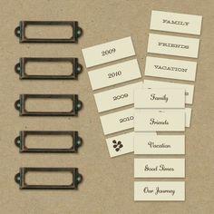 40 Etikettenrahmen aus Metall für Namensschilder oder Apothekerschrank
