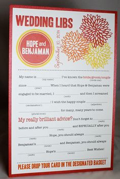 Wedding Mad Libs PDF FILE Print Yourself Bold Mums Colors are Customizable Digital File. $22.00, via Etsy. awesome!