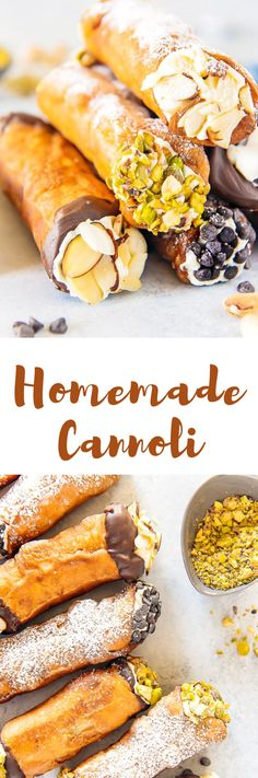 This Homemade Cannoli recipe tastes just as satisfying as ones bought from an Italian bakery. The crispy shell and creamy, sweetened ricotta cheese filling are to die for and will make any day a little extra special!  #cannoli #cannolirecipes #homemadecannoli #foods