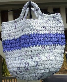 Recycled Plastic Bag, Crochet Tote, Purple Flower Pin Broach, Market Bag, White Lavender Eco friendly Purse, Woven Bag