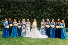 A DEE HUTTON bride and her blue DEE HUTTON maids