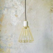 White Marble and Brass Ceiling Pendant