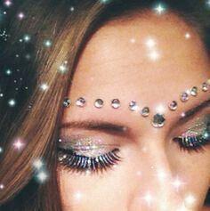 Sparkle rhinestone rave makeup