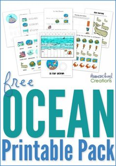 Ocean printable pack for preschool and kindergarten - free printables with vocabulary words, patterning, sizing, early reading skills, and more from Homeschool Creations.