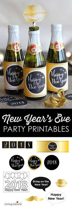 2018 New Years Eve Party Printables. Print gold and black photo props, bottle labels, banner and more! Free Printable Coloring Sheet for kids.