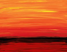 Red Orange Yellow Black Abstract Landscape Art Painting Sunset Sunrise Ruby Shore Ocean Water Modern Contempoary Large Canvas Ready To Hang via Etsy