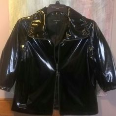 Brand new Nine West shiny black 3/4 length jacket NWOT Nine West windbreaker/raincoat. 3/4 sleeves. Double zipper. Collar can be worn up or down, collar also has drawstring to bunch up and tighten. Never worn. Nine West Jackets & Coats