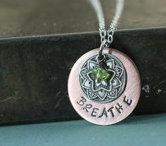 Breathe Necklace - Yoga Jewelry - Namaste Necklace - Mandala Necklace - Peridot Sterling Silver Copper Handmade