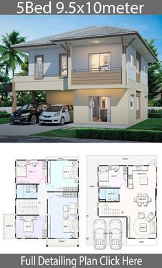 House design with 5 bedrooms. Style modern thai style with roof House description:Number of floors 2 storey house bedroom 5 roomstoilet 2 rooms Modern House Floor Plans, Duplex House Plans, House Layout Plans, Contemporary House Plans, Luxury House Plans, Dream House Plans, 2 Storey House Design, Bungalow House Design, House Front Design