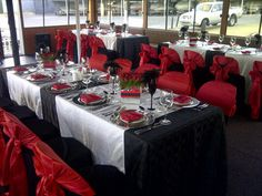Fancy Red & Black theme Corporate Events, Red Black, Wedding Reception, Table Settings, Fancy, Table Decorations, Furniture, Home Decor, Marriage Reception