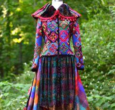 Flickwerk mehrfarbigen bestickt Boho Pullover Mantel Eco freundliche Kleidung in Größe Medium Large. Versandbereit