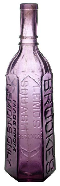 "Brooke's ""Lemos"" Squash - made from Lemons Only! Dark Amethyst glass. c1910s"