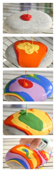 Rainbow-colored Pour-Painted Paper Weights with Beach Stones