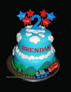 Cute cake! I like using the actual Thomas birthday train that B can keep .
